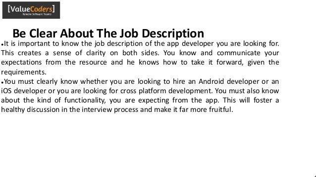 9 be clear about the job description - App Developer Job Description