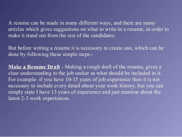tips on how to make a resumes