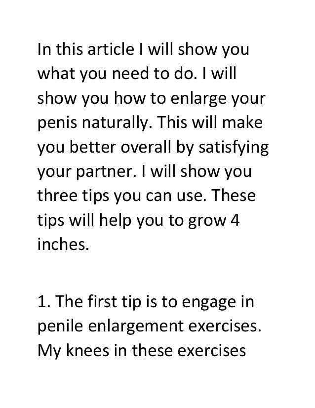 Tips On How To Enlarge Penis 100