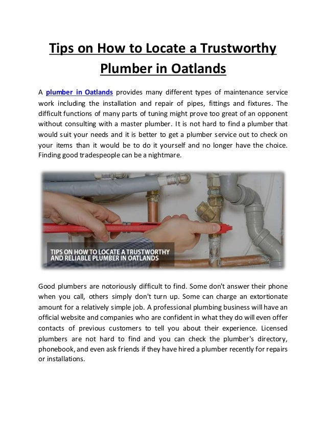Tips On How To Locate A Trustworthy Plumber In Oatlands