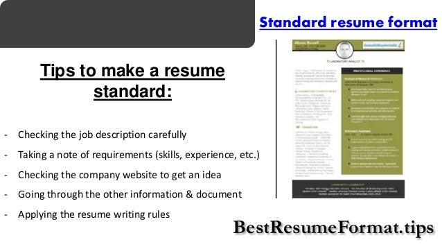 Standard Format Of Resume 595842 Resume Format For Professional