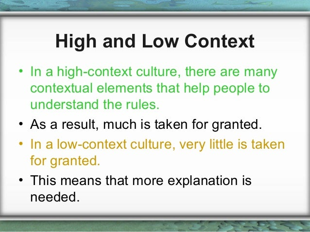 high low context culture pdf