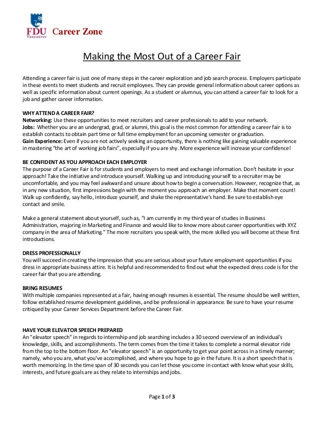 Page 1 Of 3 Career Zone Making The Most Out Of A Career Fair Attending A ...