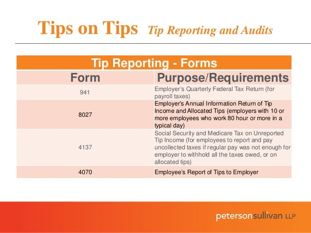 Tips on tips legal and tax issues regarding tips