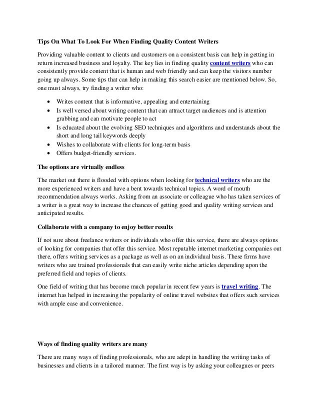 Tips On What To Look For When Finding Quality Content Writers Providing valuable content to clients and customers on a con...