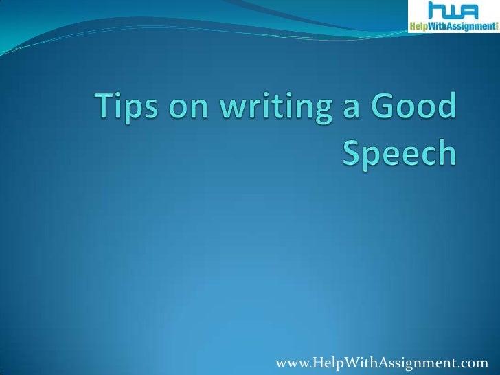 writing a good speech tips video