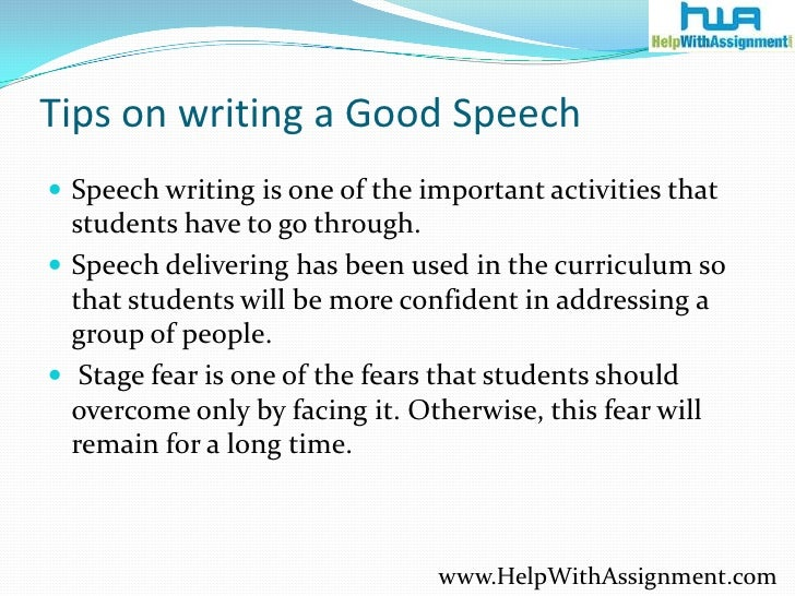 Speech writing for students