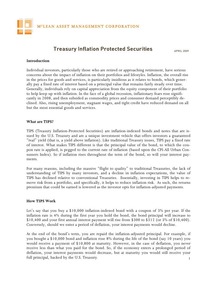 Treasury Inflation Protected Securities                                     APRIL 2009   Introduction  Individual investor...