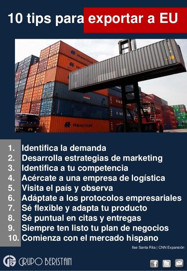 1. Identifica la demanda 2. Desarrolla estrategias de marketing 3. Identifica a tu competencia 4. Acércate a una empresa d...