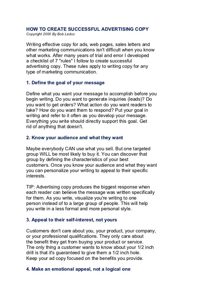 HOW TO CREATE SUCCESSFUL ADVERTISING COPYCopyright 2000 By Bob LeducWriting effective copy for ads, web pages, sales lette...