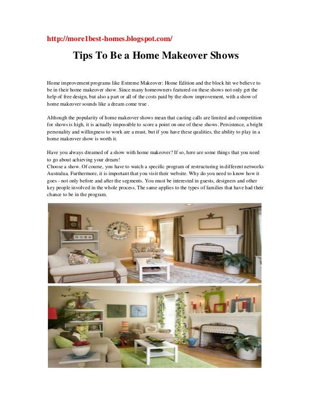 Tips to be a home makeover shows