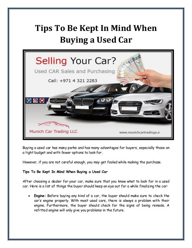 Trading In A Car With Problems >> Tips To Be Kept In Mind When Buying A Used Car