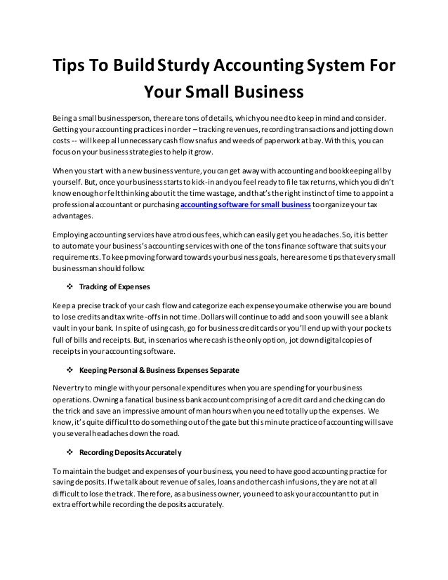 Tips To Build Sturdy Accounting System For Your Small Busines