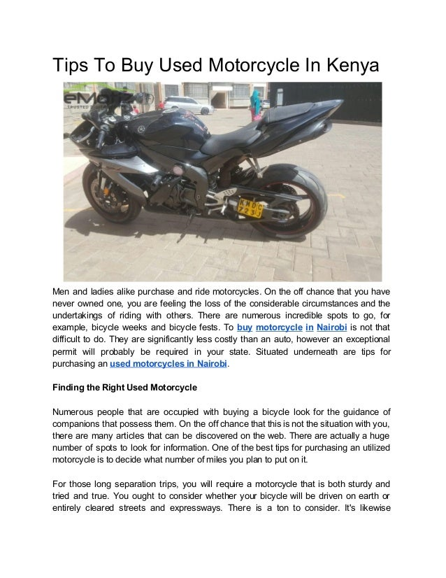 Buy Used Motorcycles >> Tips To Buy Used Motorcycle In Kenya