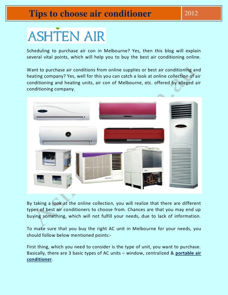 Tips To Choose Air Conditioner Scheduling To Purchase