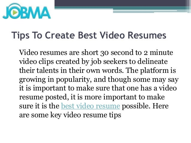 tips to create best video resumes