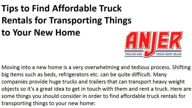 Tips To Find Affordable Truck Rentals For Transporting