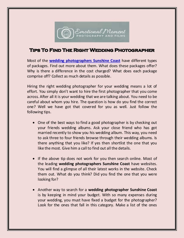 Tips To Find The Right Wedding Photographer