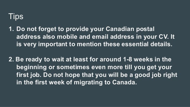 Tips to get job in canada after getting pr visa