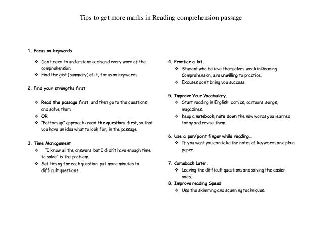 Tips To Get More Marks In Reading Comprehension Passage