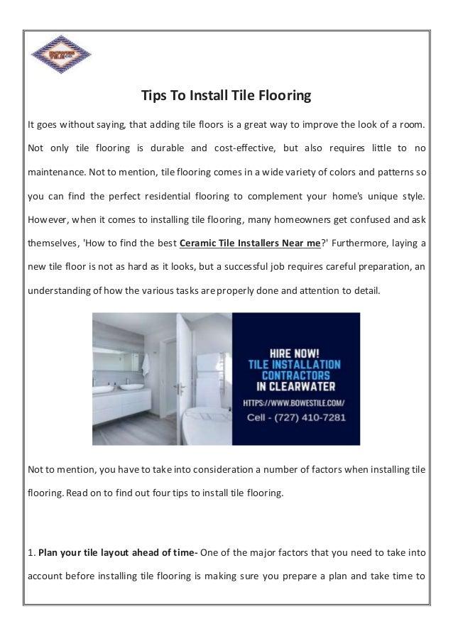 Tips to install Tile Flooring