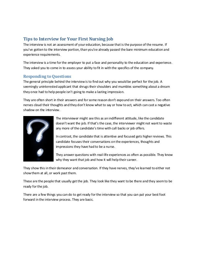 Tips To Interview For Your First Nursing JobThe Interview Is Not An  Assessment Of Your Education ...