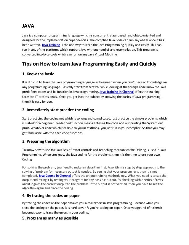 Tips on How to learn Java Programming Easily and Quickly
