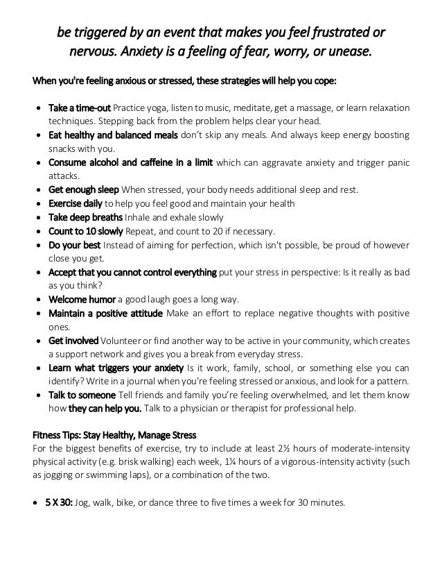 how to manage stress and anxiety pdf