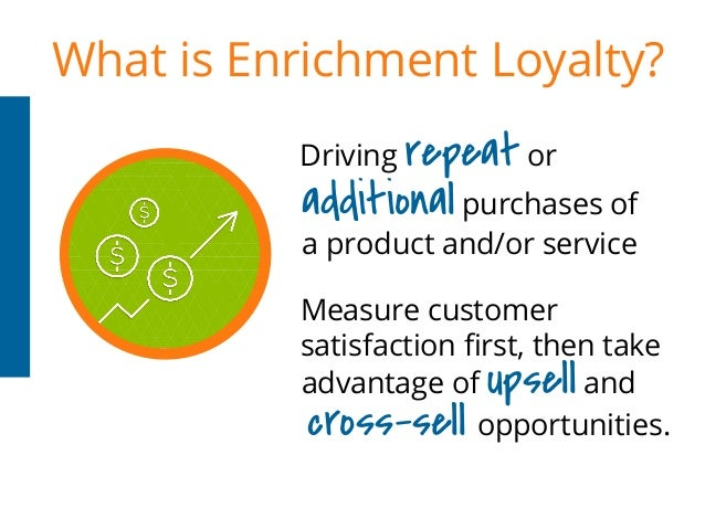 What is Enrichment Loyalty? Measure customer satisfaction first, then take Driving repeat or additional purchases of a pro...