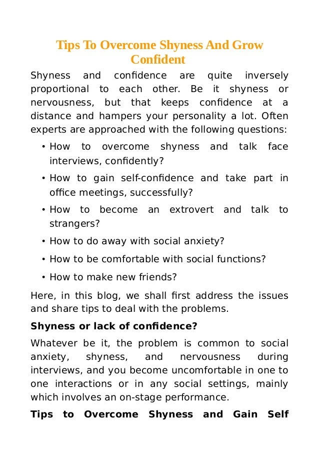 Tips to overcome shyness
