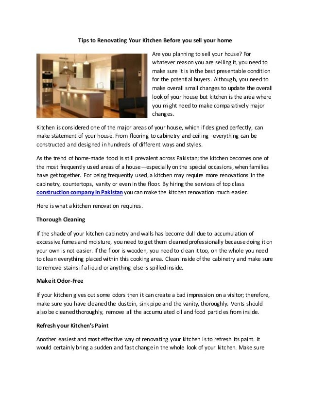 Tips To Renovating Your Kitchen Before You Sell Your Home