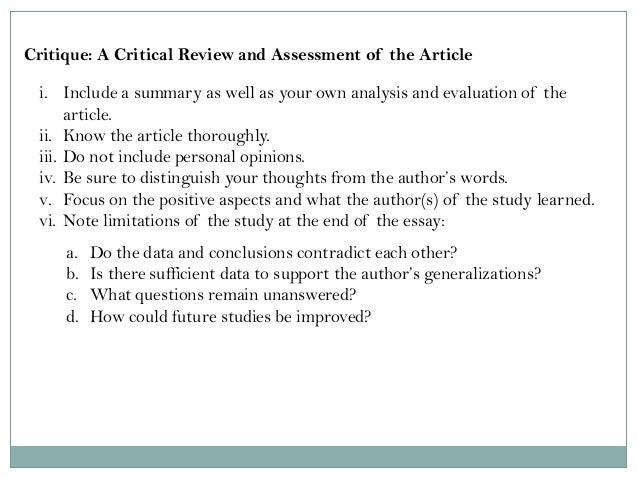 critique of the journal article why Assignment 2: critique of journal article this assignment will provide you with an opportunity to write a second critique of a journal article this time, i.