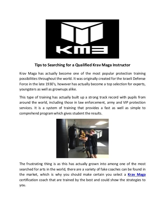 Tips To Searching For A Qualified Krav Maga Instructor