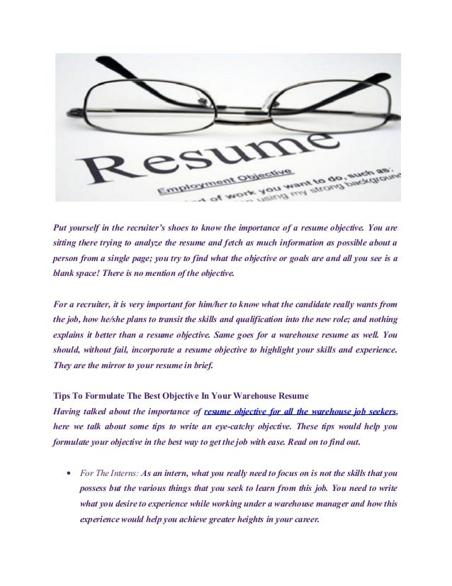 Importance Of Writing An Objective In Your Resume; 2.