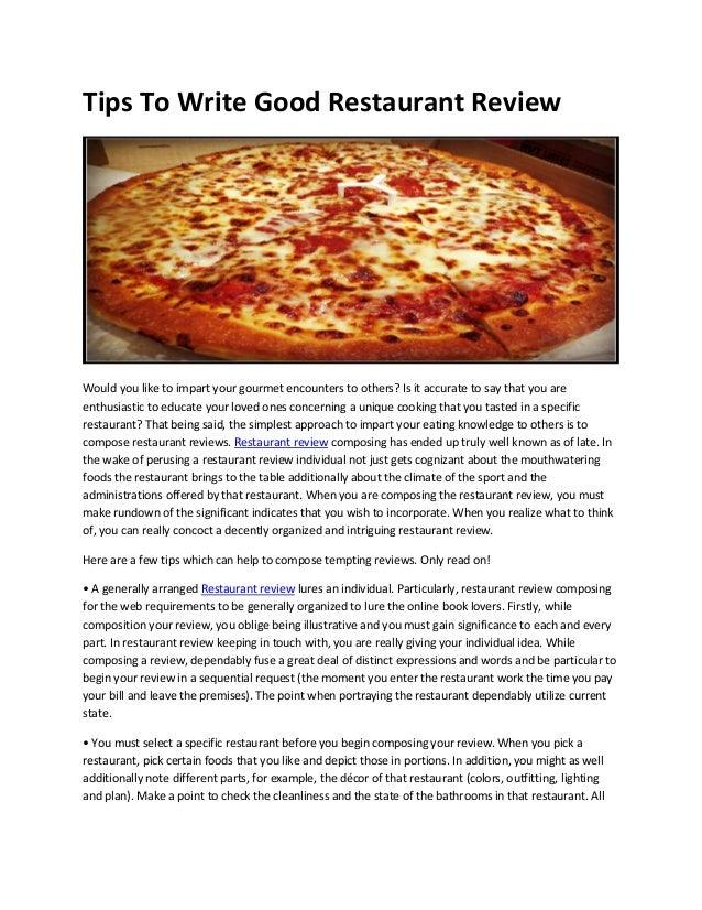 a restaurant review