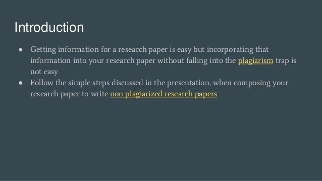 how do you write a research paper without plagiarizing