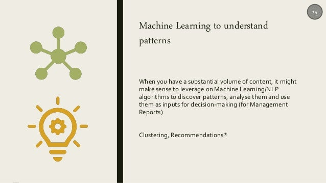 Machine Learning to understand patterns When you have a substantial volume of content, it might make sense to leverage on ...