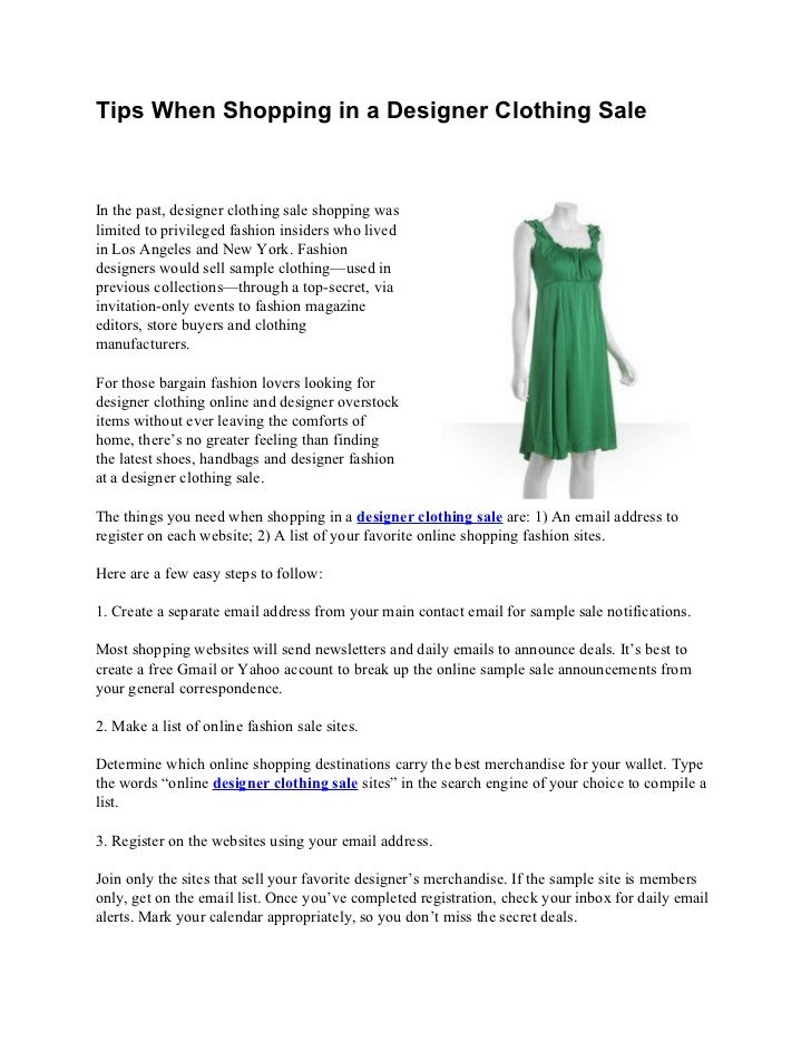 ca440a24be11 Tips When Shopping in a Designer Clothing SaleIn the past