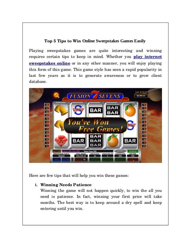 Top 5 Secrets to win Online Sweepstakes Games