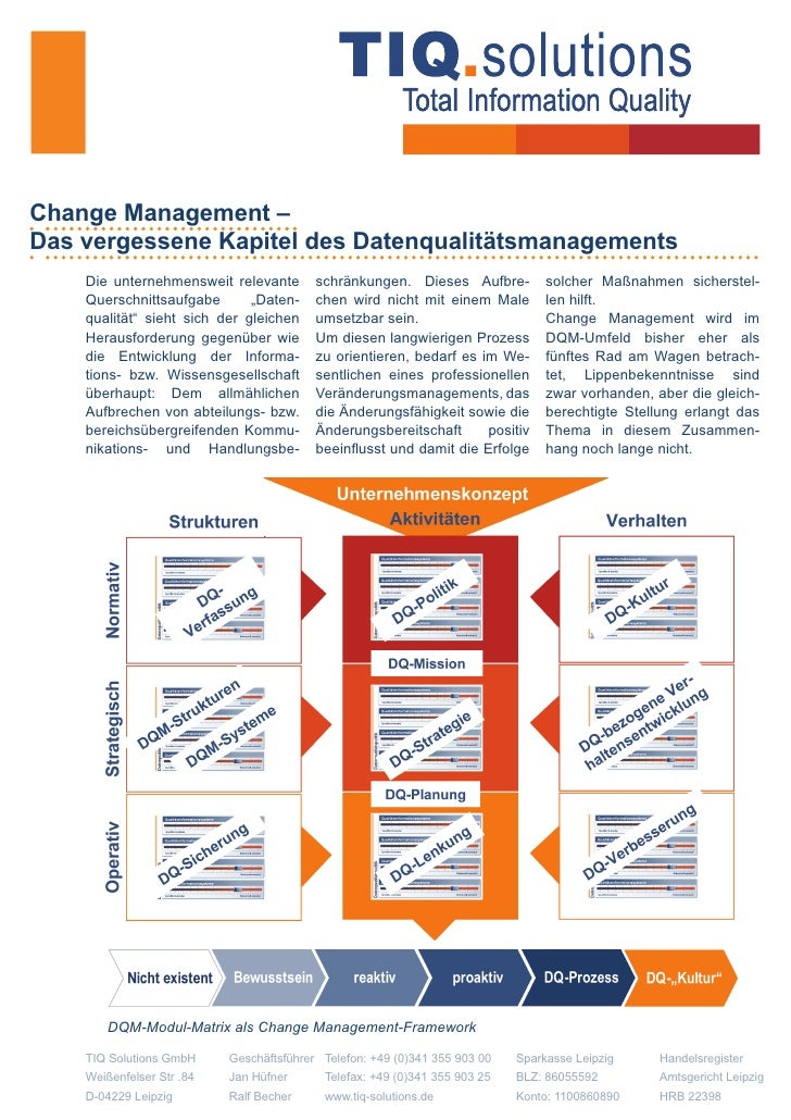 Change Management – Das vergessene Kapitel des Datenqualitätsmanagements     Die unternehmensweit relevante        schränk...