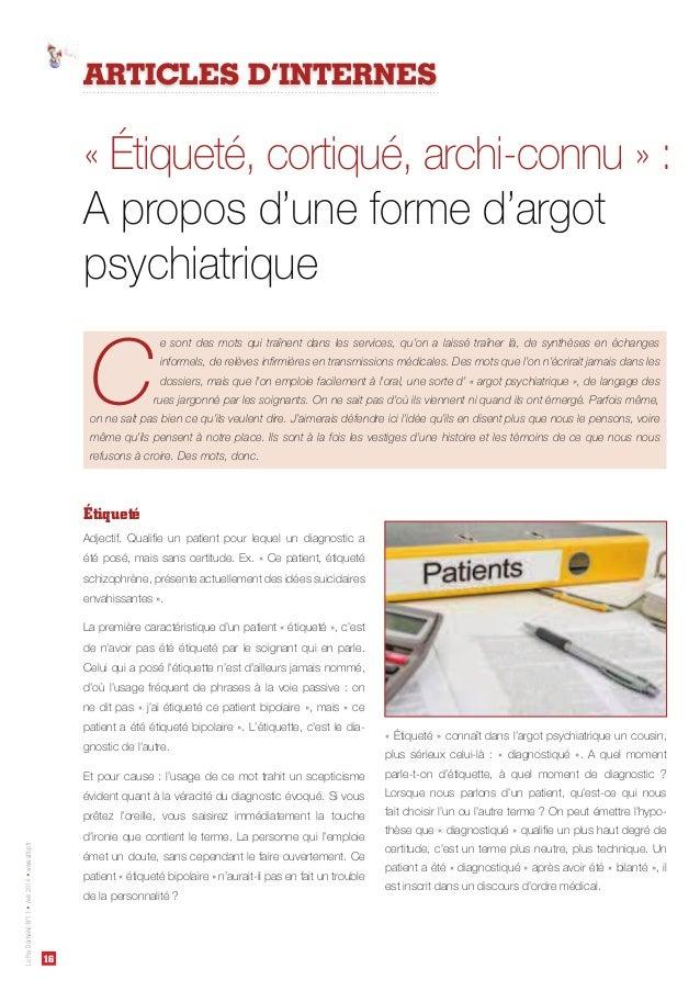 16 LePsyDéchaînéN°11Avril2014www.affep.fr Étiqueté ARTICLES D'INTERNES C e sont des mots qui traînent dans les services, q...