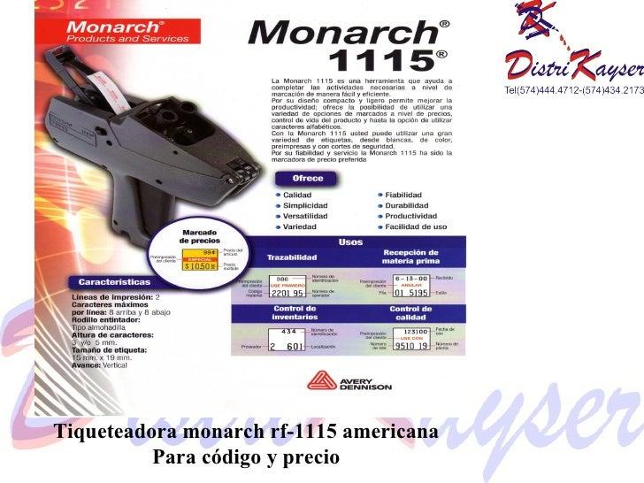 Tiqueteadora monarch rf-1115 americana Para código y precio