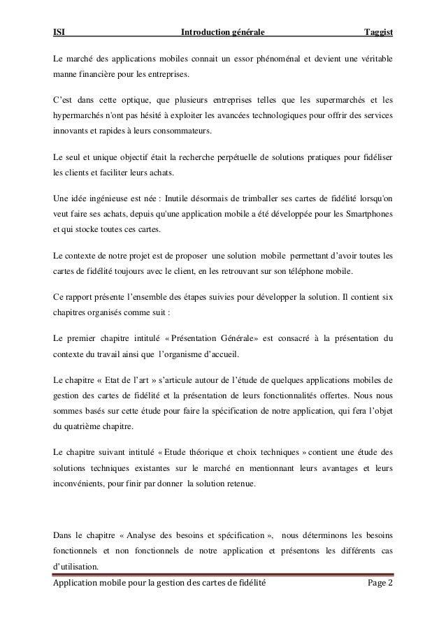 ISI Introduction générale Taggist Application mobile pour la gestion des cartes de fidélité Page 2 Le marché des applicati...