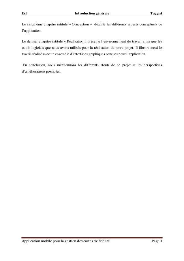 ISI Introduction générale Taggist Application mobile pour la gestion des cartes de fidélité Page 3 Le cinquième chapitre i...