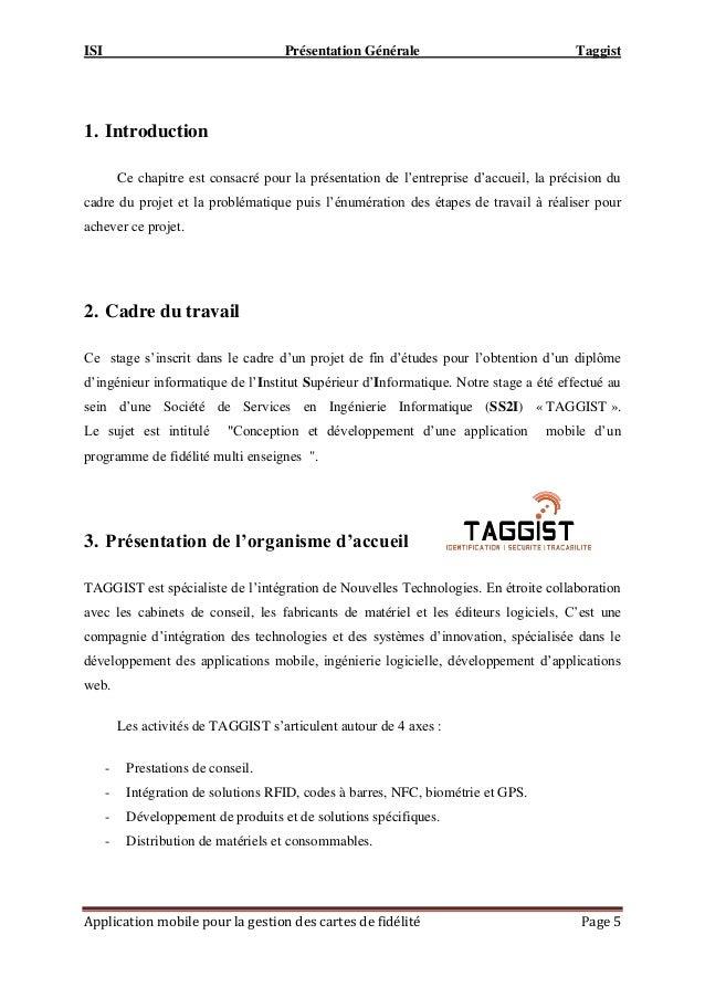 ISI Présentation Générale Taggist Application mobile pour la gestion des cartes de fidélité Page 5 1. Introduction Ce chap...