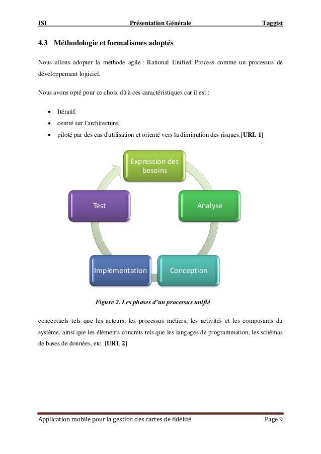ISI Présentation Générale Taggist Application mobile pour la gestion des cartes de fidélité Page 9 4.3 Méthodologie et for...