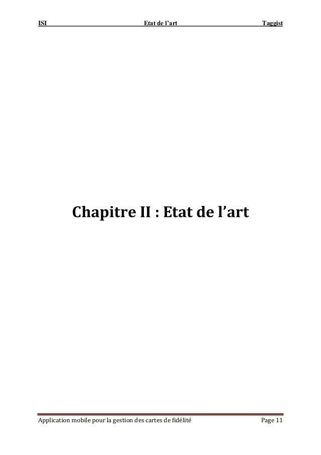 ISI Etat de l'art Taggist Application mobile pour la gestion des cartes de fidélité Page 11 Chapitre II : Etat de l'art