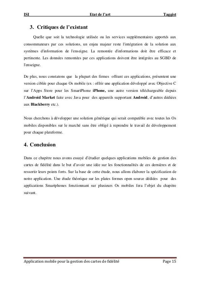 ISI Etat de l'art Taggist Application mobile pour la gestion des cartes de fidélité Page 15 3. Critiques de l'existant Que...