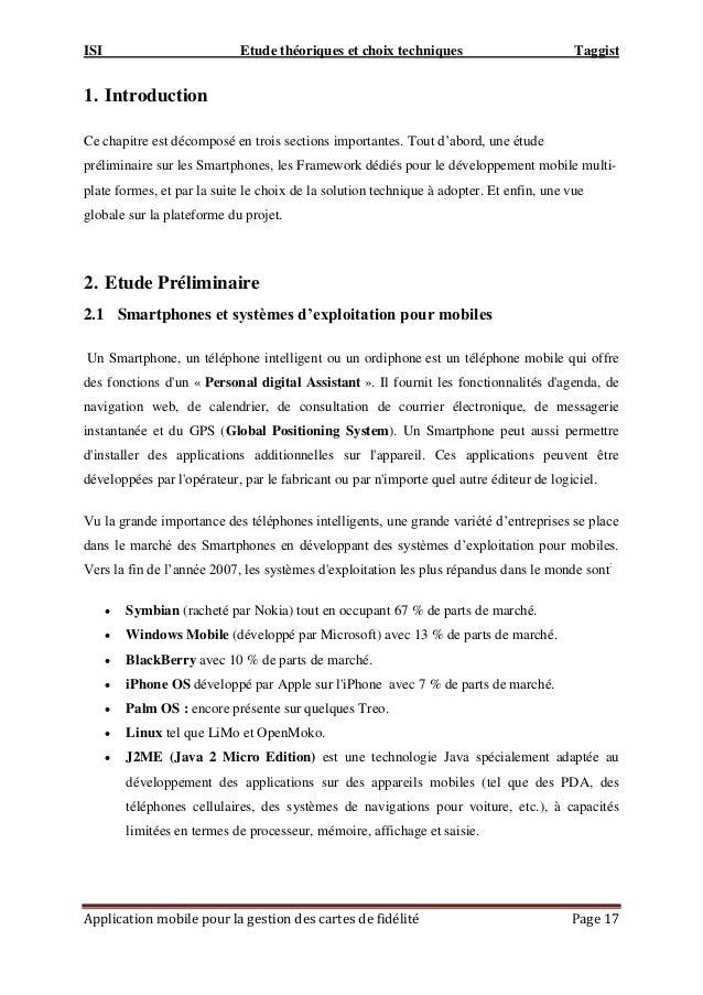 ISI Etude théoriques et choix techniques Taggist Application mobile pour la gestion des cartes de fidélité Page 17 1. Intr...