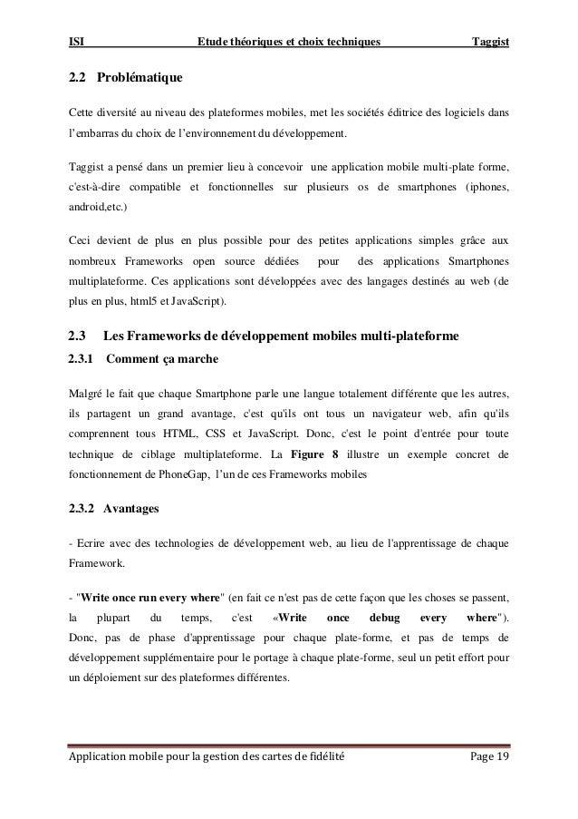 ISI Etude théoriques et choix techniques Taggist Application mobile pour la gestion des cartes de fidélité Page 19 2.2 Pro...